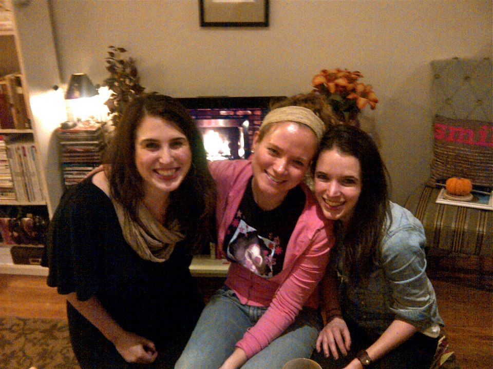 I had these lovely ladies over for some holiday drinks. In lieu of an actual fireplace, I played the YouTube yule log over and over again on TV.