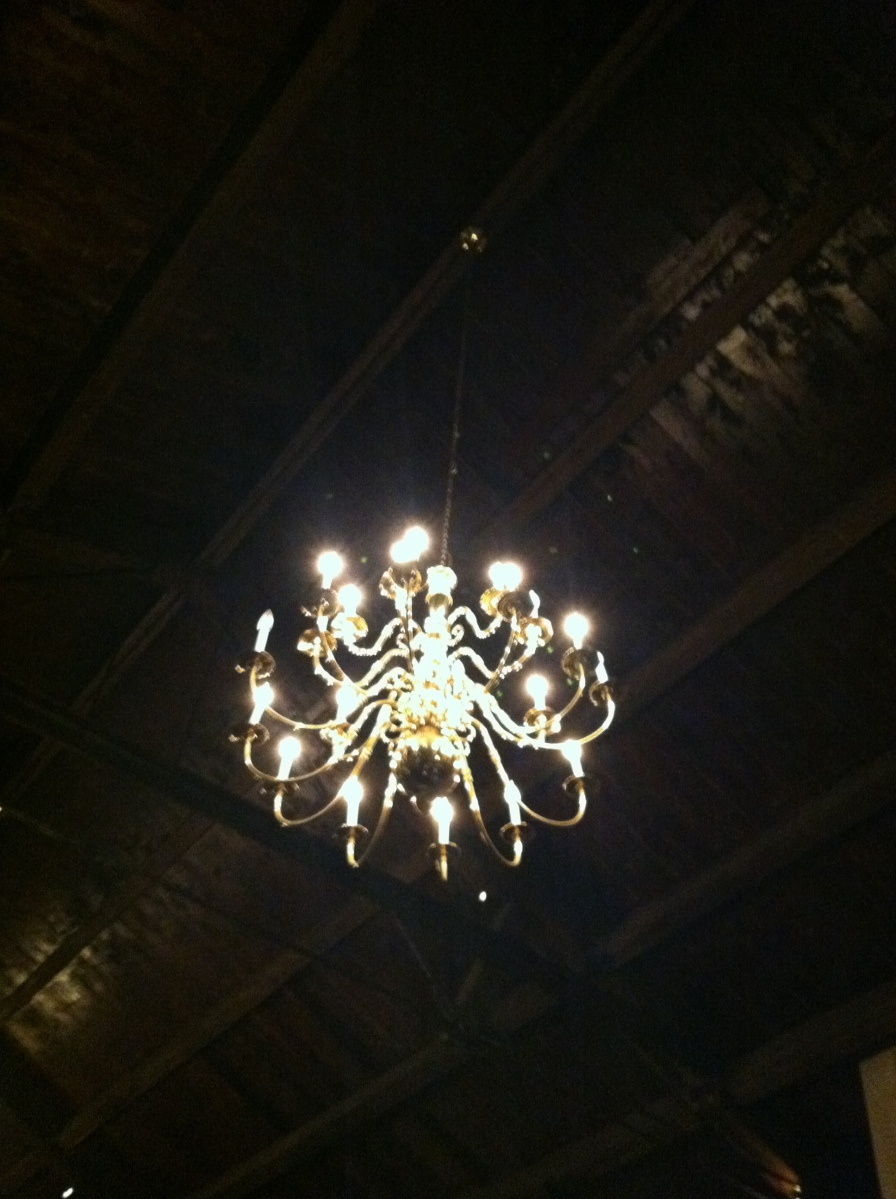 You guys KNOW how I love my lights! Isn't this chandelier from the wedding venue gorgeous?