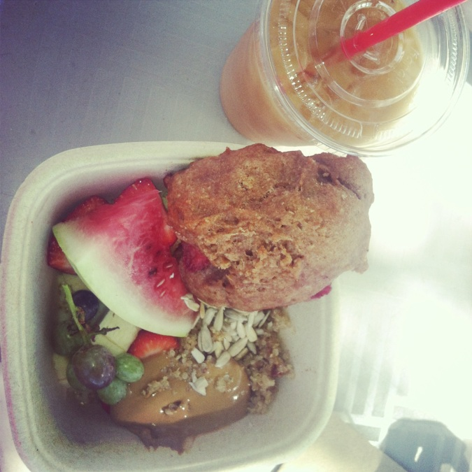 ^^Vegan quinoa breakfast bowl with strawberry scone and iced coffee.