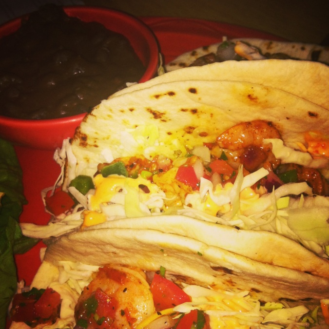 ^^Shrimp tacos=heavenly.