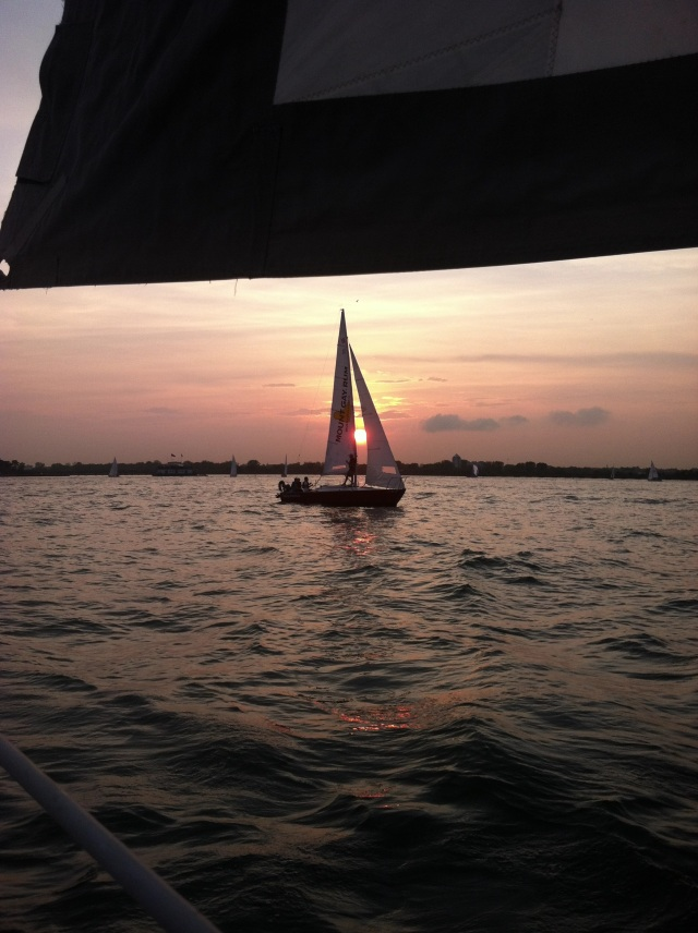 ^^ Sunset between a sail boat on our Hudson sailing adventure the other day.