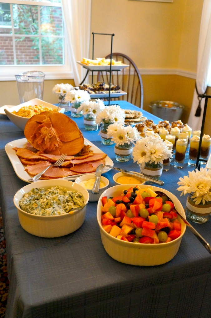 ^^ Honey Baked ham, spinach dip, fruit salad, pasta salad and Sister Schubert's rolls rounded out the desserts.