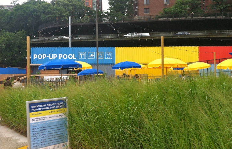 "^^All of my favorite mommy bloggers have been talking about the ""the pop-up pool in Brooklyn."" Well today, I finally got to see it!"