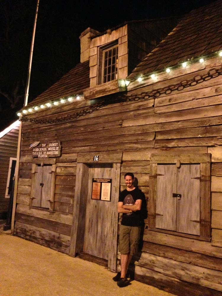 ^^ Chris and the oldest wooden school house in America.