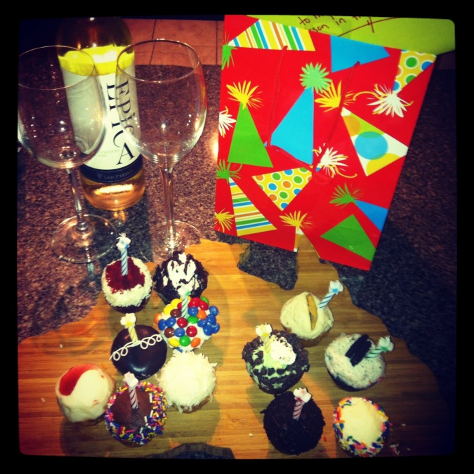 ^^ Last night, as Chris was officially 30 in Australia, we celebrated with wine, cupcakes and Indiana Jones.