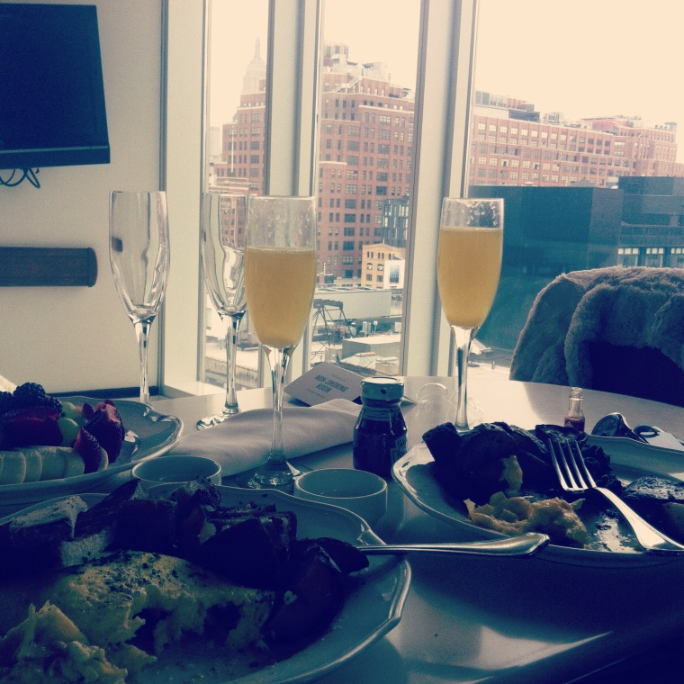 ^^ Celebrating Day 1 of being married with brunch from our hotel room at The Standard overlooking the Manhattan skyline.
