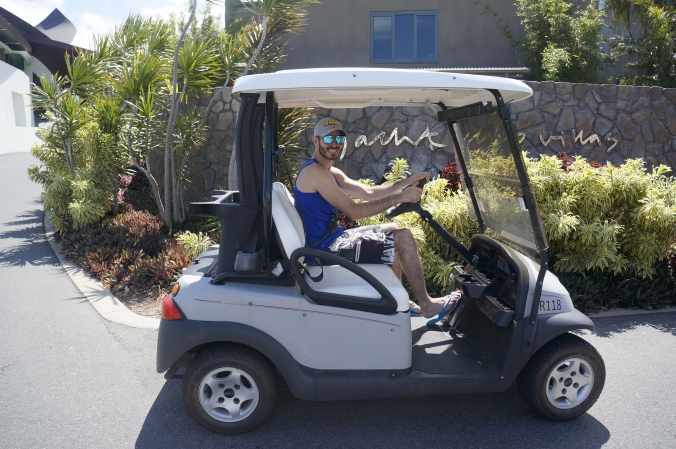 ^^ Everyone on the island rents these little electric golf carts to drive around -- no one except the owner of the island is allowed to drive regular cars on the land. We only rented the car on Tuesday, as we were doing excursions the other days we were there.