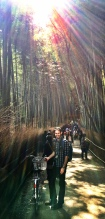 Biking through the Arashiyama Bamboo Groves in Kyoto, Japan